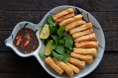 Family meal, fried tofu with shrimp paste Royalty Free Stock Photo