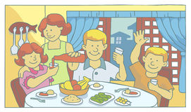 Family at mealtime Stock Image