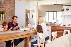 Family mealtime at home Stock Photo