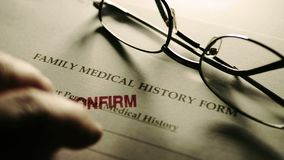 Family medical history form stamp confirm.  stock video footage