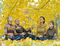 Family meditate in autumn forest Royalty Free Stock Photography