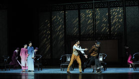 A family meeting-The second act of dance drama-Shawan events of the past. Guangdong Shawan Town is the hometown of ballet music, the past focuses on the Royalty Free Stock Images
