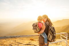Family meets the sunset on the Moro rock in Sequoia national park, California, USA.  stock image
