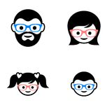 Family member faces. Black family members faces icons with glasses Royalty Free Stock Image