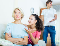 Family members asking senior mother to forget offences Royalty Free Stock Photo