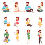 Family Members Cartoon Style Set Stock Photography