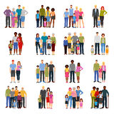 Family Members Groups Flat Icons Set Royalty Free Stock Photography