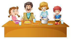 Family members having dinner at the table. Illustration Stock Image
