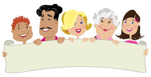 Family members holding a blank scroll Royalty Free Stock Photo