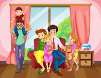 Family members in the living room. Illustration Royalty Free Stock Photo