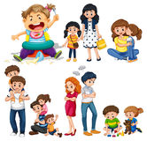 Family members with parents and kids. Illustration Royalty Free Stock Photos