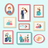 Family members portraits. Wedding photo in frame, couple portrait. Smiling husband, wife and kids photos in frames royalty free illustration