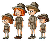 Family members in safari outfit. Illustration Royalty Free Stock Photography