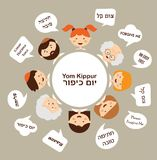 Family members saying traditional greeting for yom kippur in hebrew. Jewish holiday. Royalty Free Stock Image