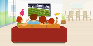 Family of 4 members sitting on a red sofa in their living room inside their house watching a soccer game on a large flat tv stock illustration