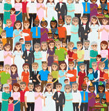 Family Members Standing in Repeated Long Rows. Vector illustration of people poses for photos in wedding costumes, in festive caps celebrating child s Happy Royalty Free Stock Images