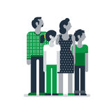 Family members standing together, parents children mother father son daughter. Flat design vector illustration on white. Family outfit Royalty Free Stock Photos