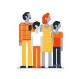 Family members standing together, parents children mother father son daughter. Flat design vector illustration on white. Family outfit Stock Photography