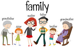 Family members with three generations. Illustration Stock Image