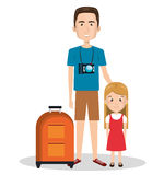 Family members on vacations. Vector illustration design Stock Photos