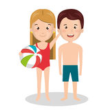 Family members on vacations. Vector illustration design Stock Images