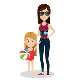 Family members on vacations. Vector illustration design Royalty Free Stock Photography