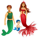Family of mermaids, mother, father and child Royalty Free Stock Image