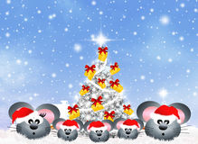 Family of mice at Christmas. Illustration of family mice at Christmas Stock Images