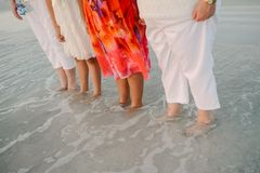 Family of Women Standing Facing the Ocean in Shallow Water Shoreline at the Beach on Vacation Outside in Nature royalty free stock photography