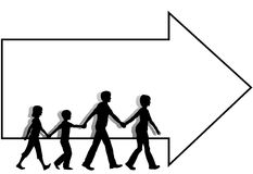 Family mom dad kids walk to follow arrow copyspace. On the go mom leads dad family kids who walk to follow a copyspace arrow which leads to a sale or other event Stock Photography