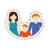 family mom dad and son together members cut line vector illustration