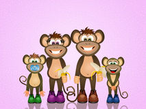 Family monkeys. Funny illustration of family monkeys Stock Images