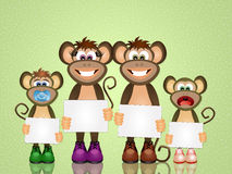 Family of monkeys. Illustration of family of monkeys Royalty Free Stock Images