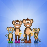 Family of monkeys. Illustration of monkeys family cartoon Stock Photography