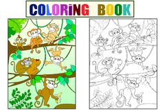 Family of monkeys on a tree color book for children cartoon raster. Coloring, black and white. Family of monkeys on a tree color book for children cartoon raster royalty free illustration