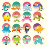 Family of Monster with background. Family of Monster, cartoon and vector characters with background Royalty Free Stock Images