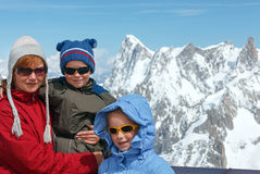 Family and Mont Blanc mountain massif behind (France ) Royalty Free Stock Photos