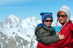 Family and Mont Blanc mountain massif behind (France ) Royalty Free Stock Photo