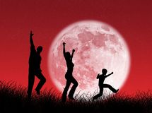 Family in the moon Stock Image