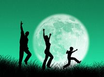 Family in the moon Royalty Free Stock Images