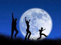 Family in the moon Royalty Free Stock Image