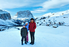 Morning winter Gardena Pass  in Dolomites and family. Stock Photos