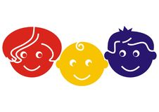 Family, mother, baby and father, colored vector icon. Family, mother, child and father. Three colorful vector icons. Red, yellow and blue head. Icon for Stock Image