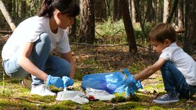 Family: mother and child collect garbage in the woods, putting it in a bag. Raising children to care for the environment stock video footage