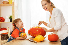 Family mother and child daughter are preparing for Halloween car Royalty Free Stock Images
