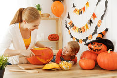 Family mother and child daughter are preparing for Halloween car Royalty Free Stock Image