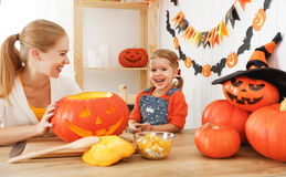 Family mother and child daughter are preparing for Halloween car Royalty Free Stock Photos