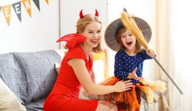 Family mother and child   daughter getting ready for halloween, Royalty Free Stock Photography