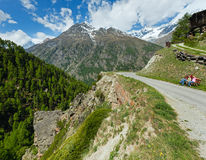 Family  on summer Alps mountain Stock Photography