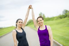 Family, mother and daughter runner outdoors stock photos